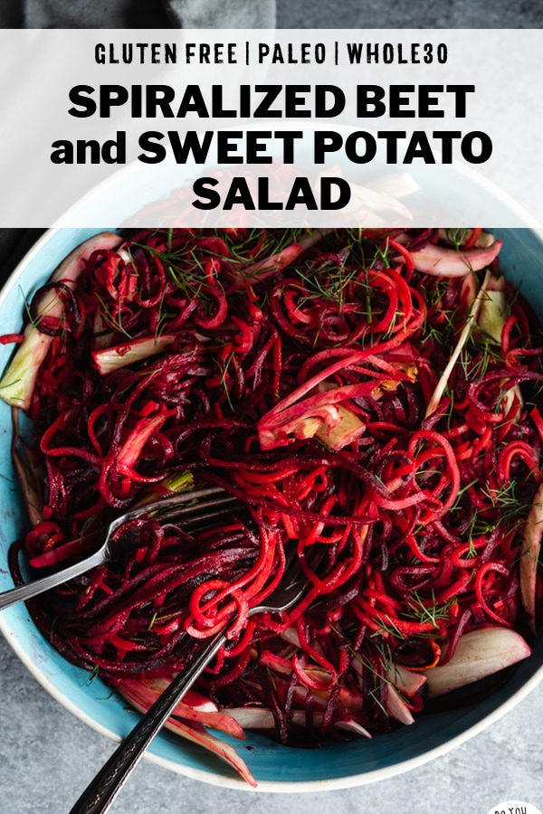Spiralized Beet and Sweet Potato Noodle Salad Recipe