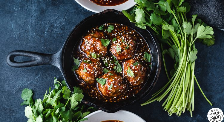 Paleo Baked Sesame Chicken Meatballs with Honey Sesame Sauce