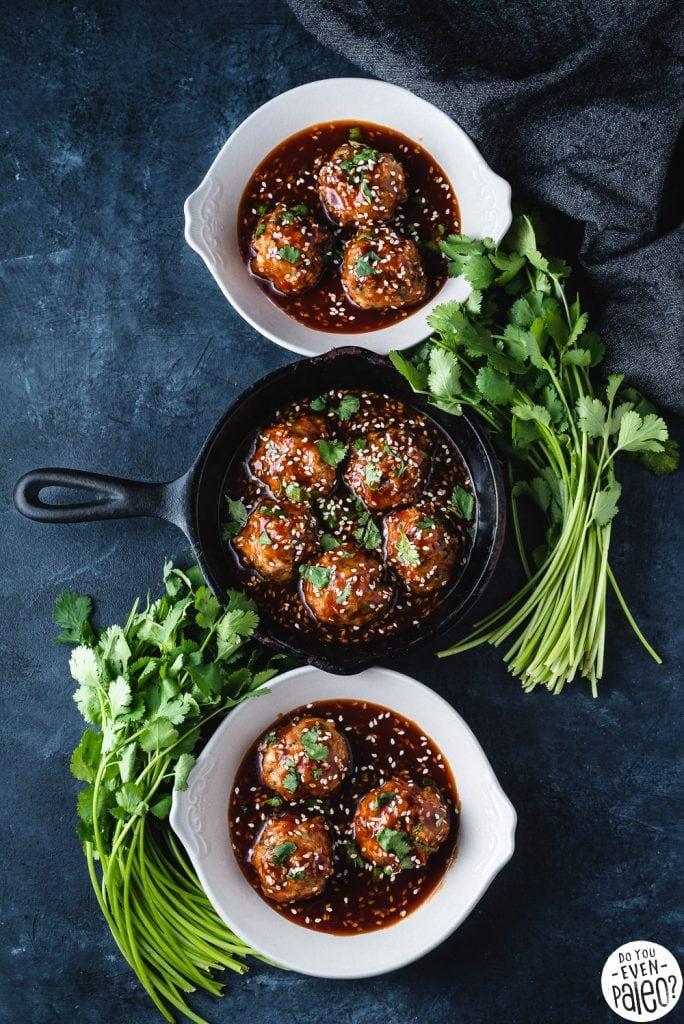 Paleo Baked Sesame Chicken Meatballs