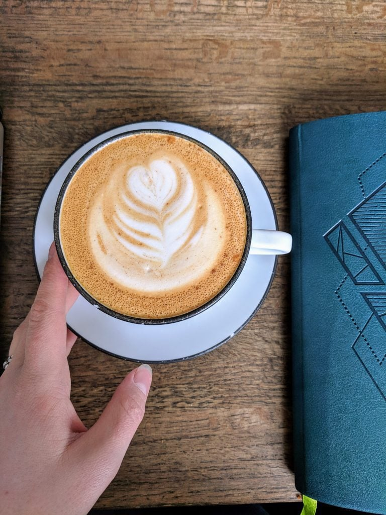 Latte next to a day planner on a wood desk