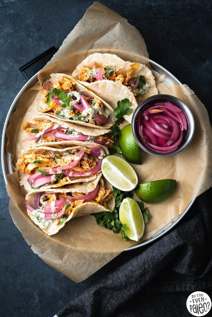 Buffalo Chicken Tacos with Pickled Onions and Ranch