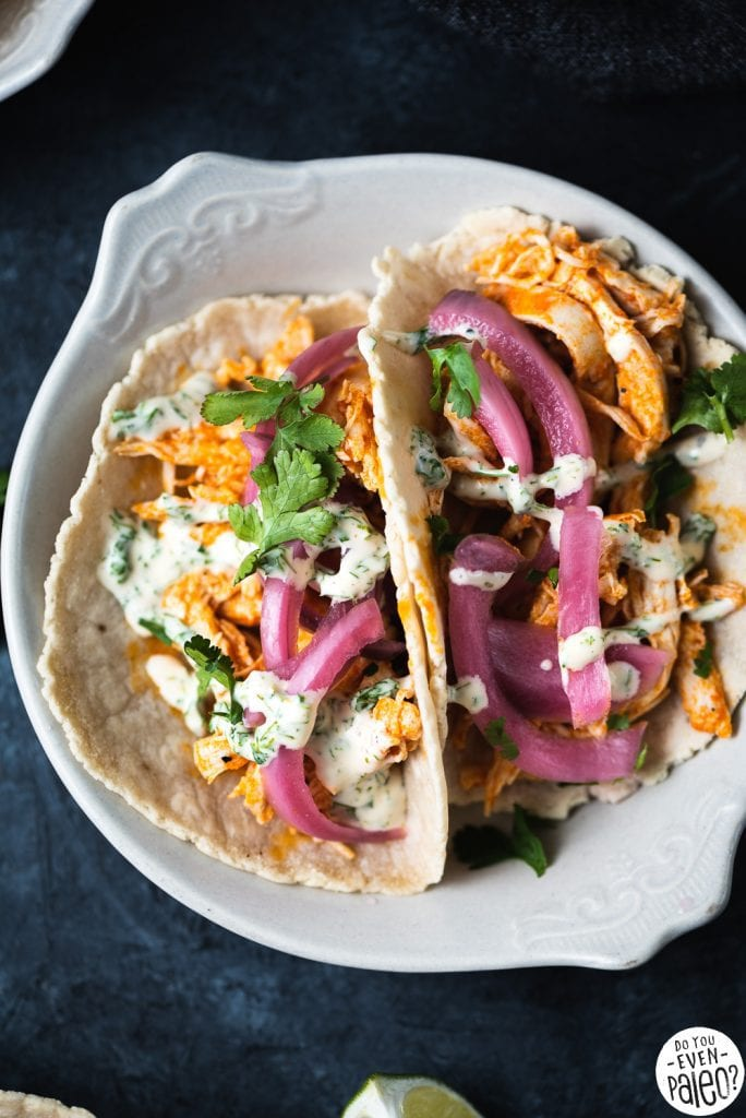 Paleo Buffalo Chicken Tacos with Pickled Onions and Ranch