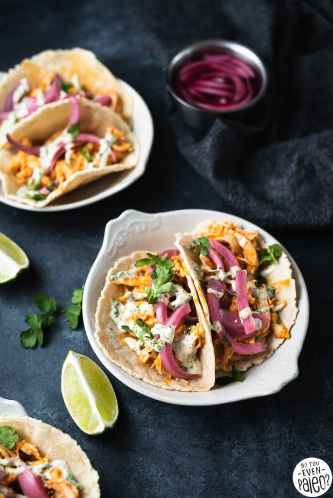 Gluten Free Buffalo Chicken Tacos with Pickled Onions and Ranch