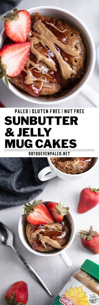 SunButter and Jelly Paleo Flourless Mug Cakes