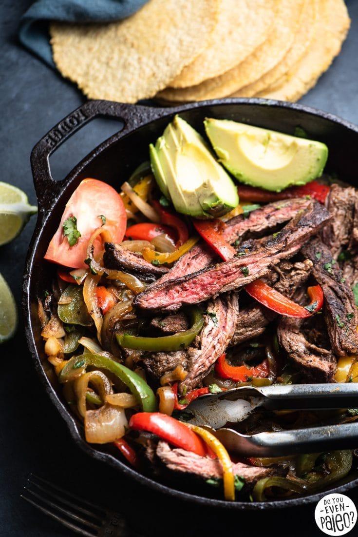 Easy Whole30 Skillet Steak Fajitas