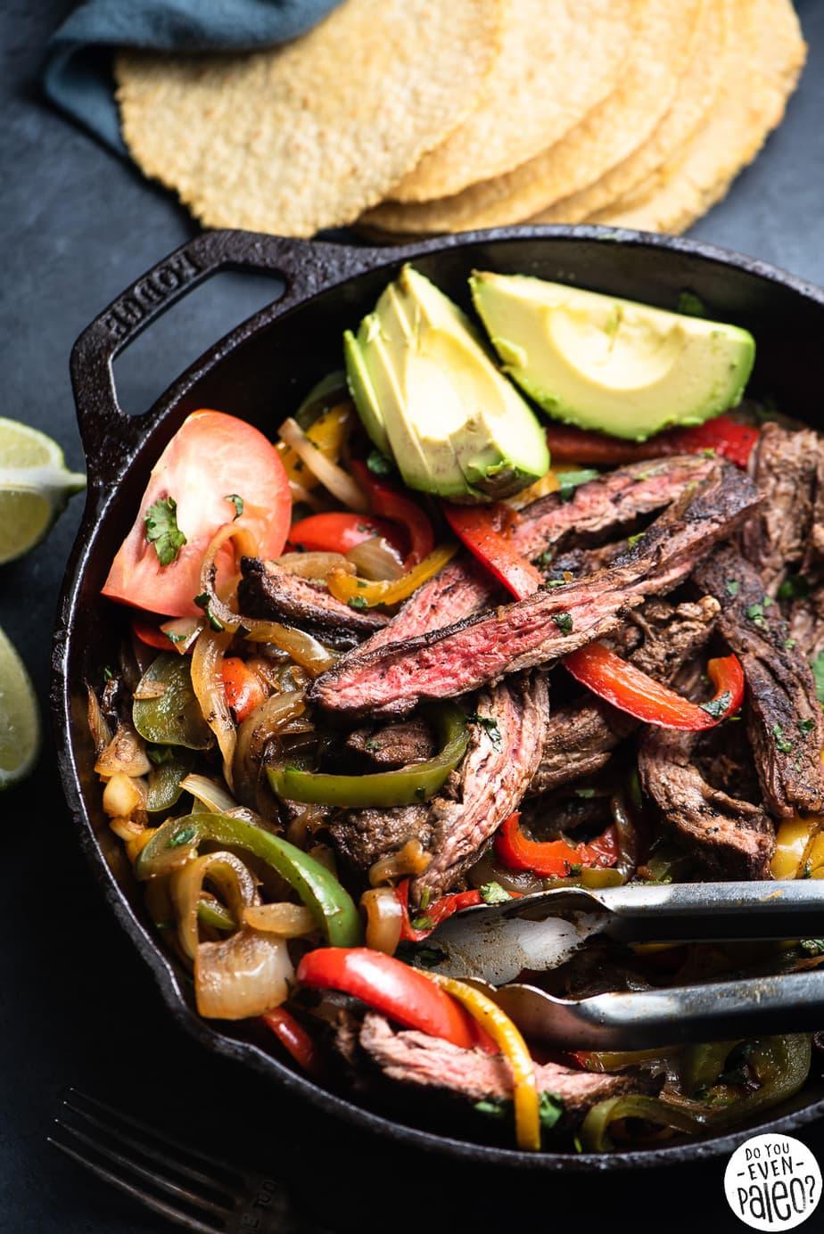 Simple Whole30 Skillet Steak Fajitas Recipe