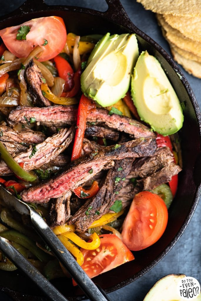 Simple Whole30 Skillet Fajitas with Steak and Bell Peppers Recipe