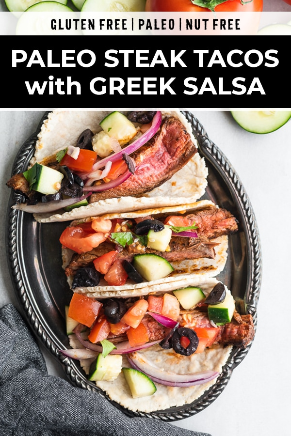 Paleo steak tacos with Greek salsa