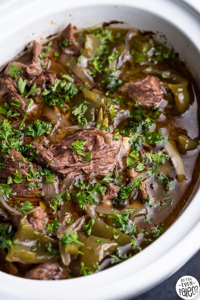Pepper steak recipe in a slow cooker