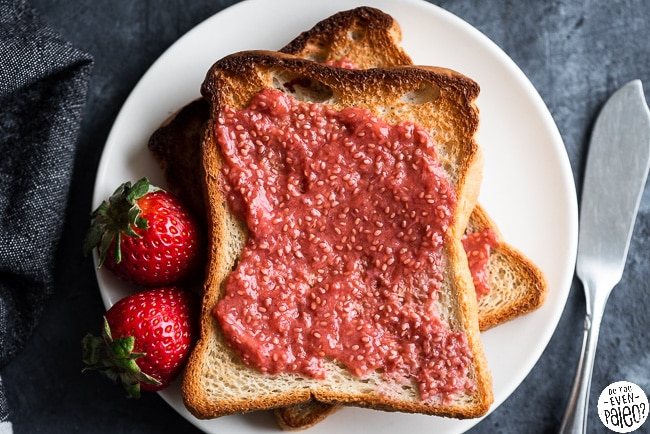 Two slices of gluten free toast smeared with chia seed jam