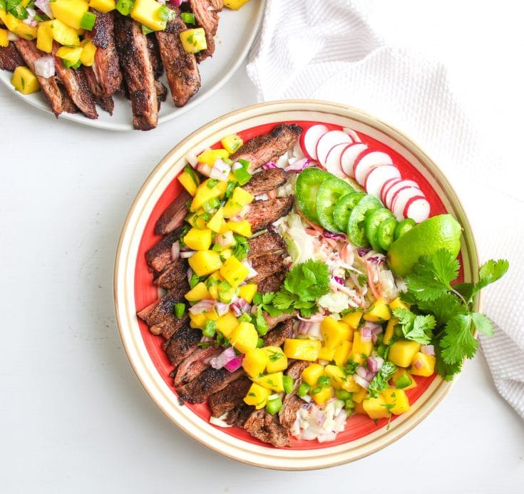 Spiced Steak Salad with Mango Salsa via The Bettered Blondie