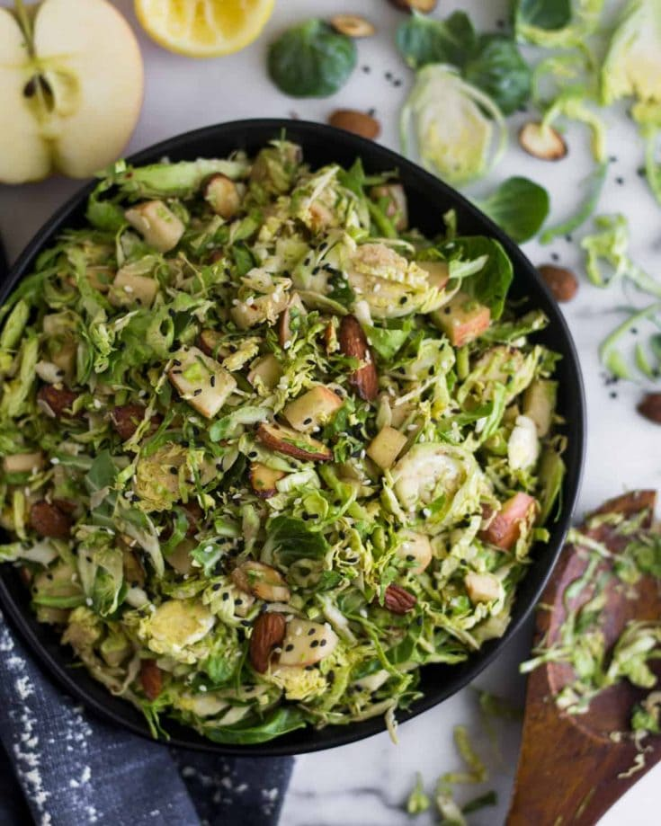 Apple & Shaved Brussels Sprouts Salad with Creamy Balsamic via Eat The Gains