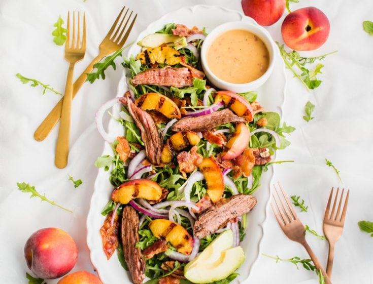 30 Minute Grilled Peach Steak Salad via Healthy Little Peach