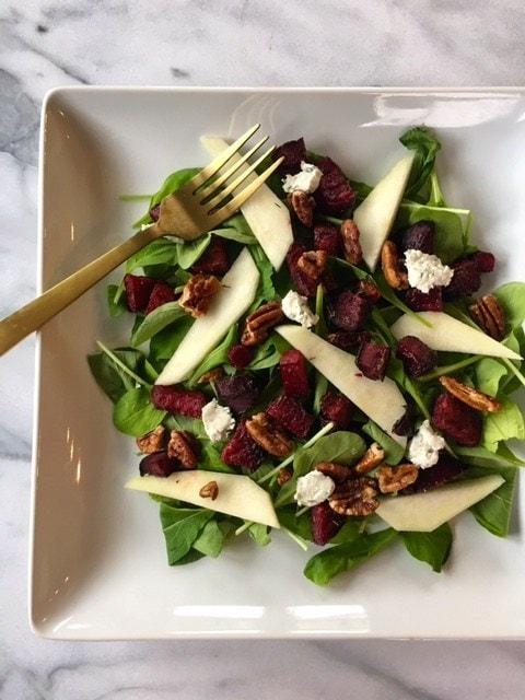 Roasted Beet & Arugula Salad with Maple Dijon Vinaigrette via Mary's Whole Life