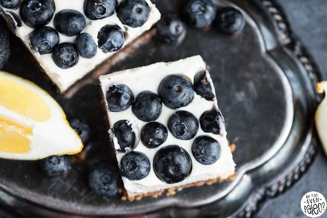 Closeup of dairy free lemon blueberry cheesecake bars