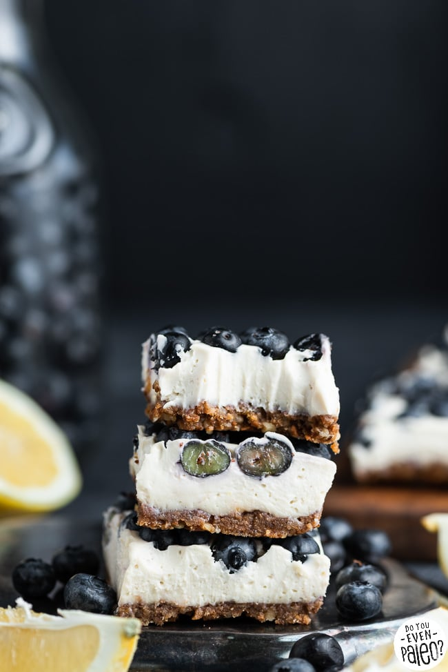 Stack of dairy free lemon blueberry cheesecake bars