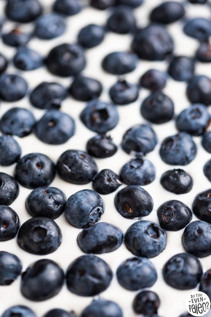Closeup of blueberries in lemon cheesecake