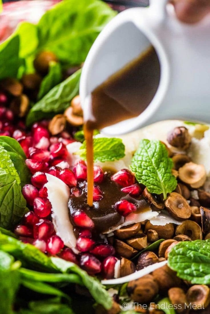 Pomegranate Salad with Spinach, Hazelnuts, and Mint via The Endless Meal