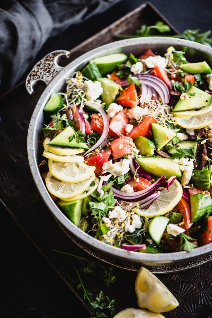 Simple Greek Salad via Steph Gadreau