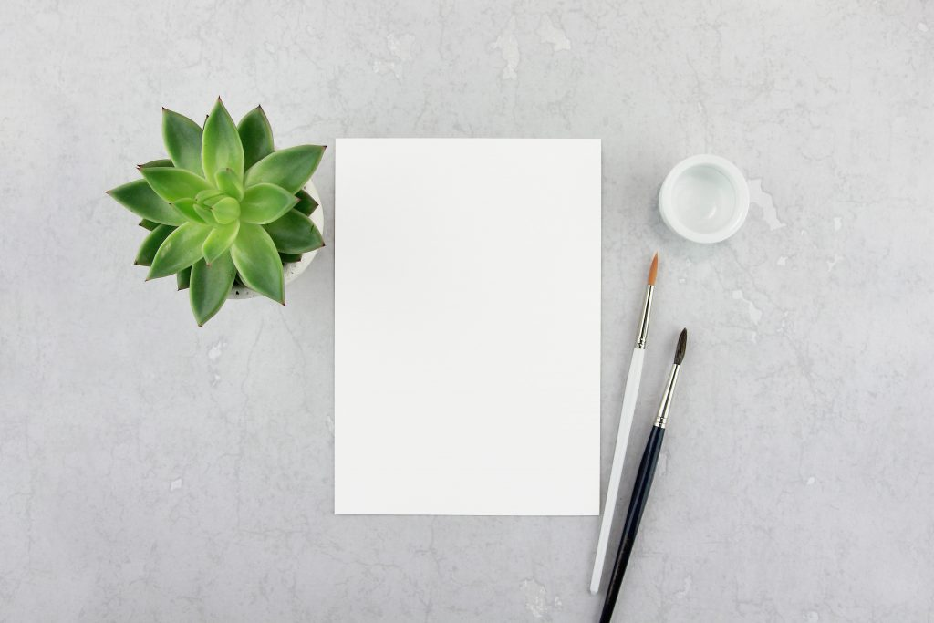A blank page surrounded by paintbrushes and a plant