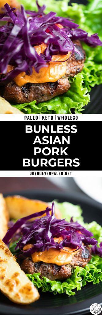 long pinterest image for Asian pork burgers