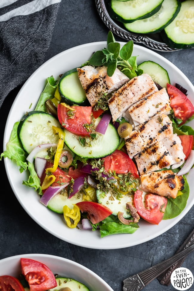 Bowl of Greek salad with grilled chicken