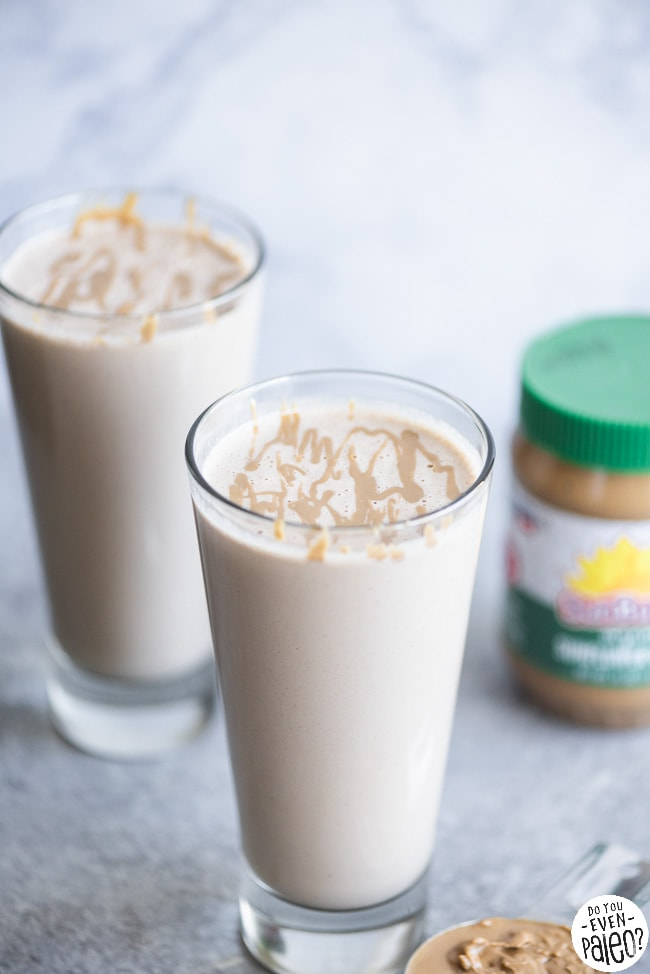 Thick sunflower seed butter smoothies in two tall glasses