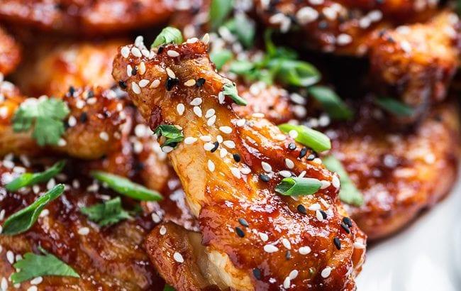 Closeup of Asian zing chicken wings
