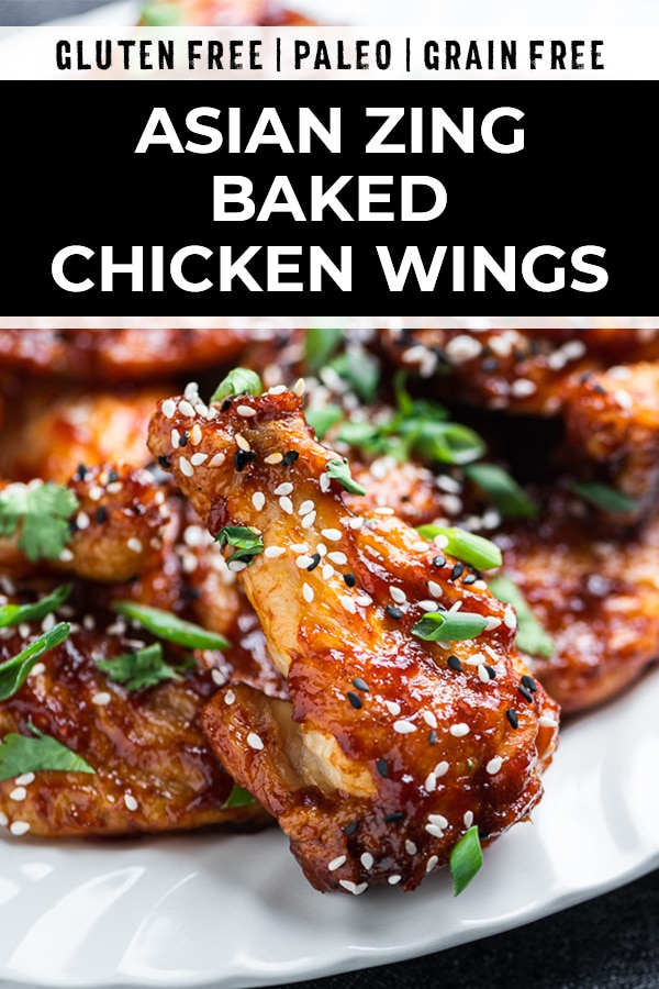 Pinterest image for baked chinese chicken wings