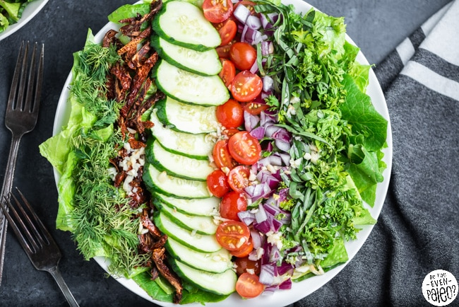 Chopped salad styles in a large low bowl