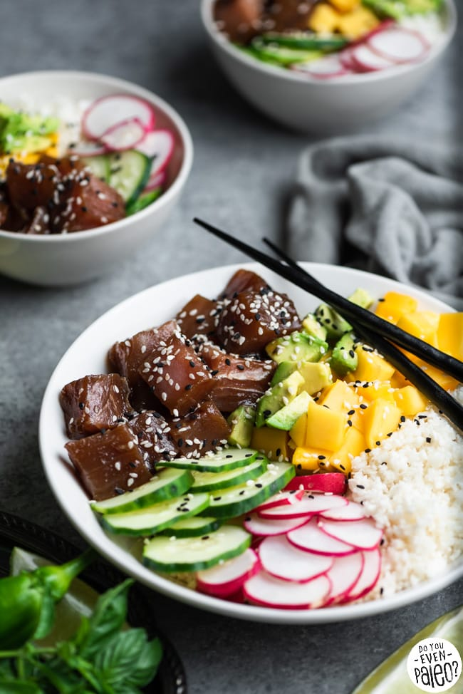 Paleo Poke Bowls garnished with sesame seeds