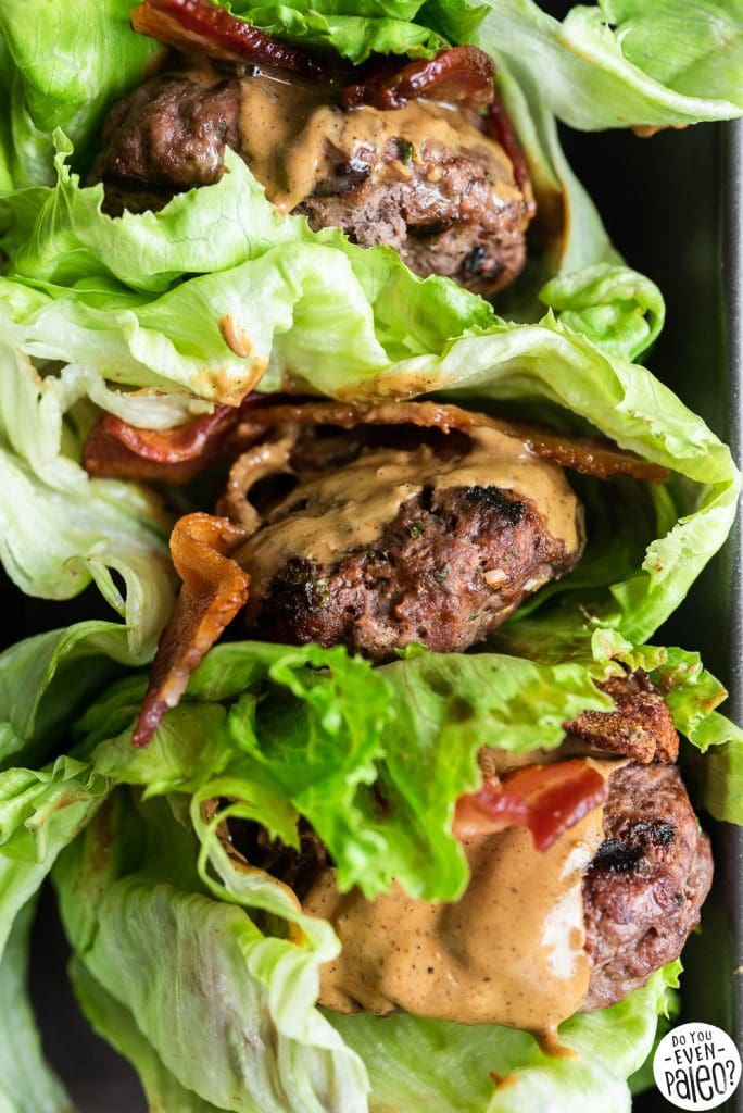 Three lettuce-wrapped SunButter bacon burgers