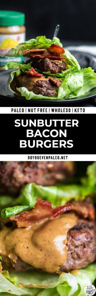 Pinterest image for SunButter bacon burgers