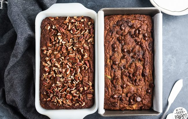 Two loaves of paleo zucchini banana bread in loaf pans