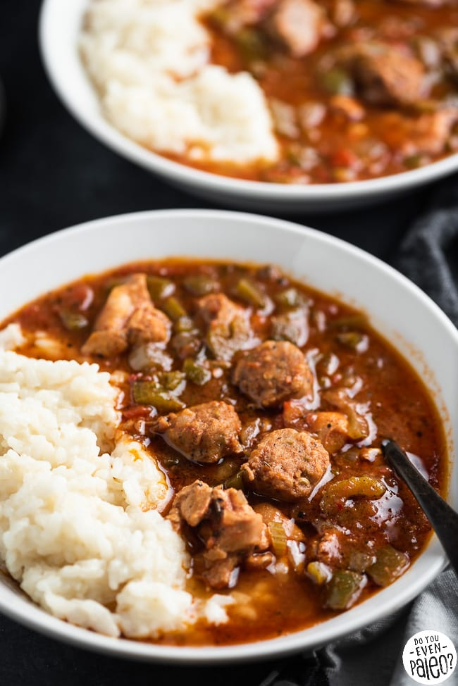 Two bowls of slow cooker gumbo with rice