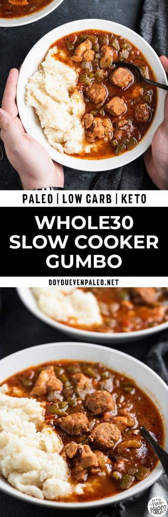 Slow cooker gumbo Pinterest image
