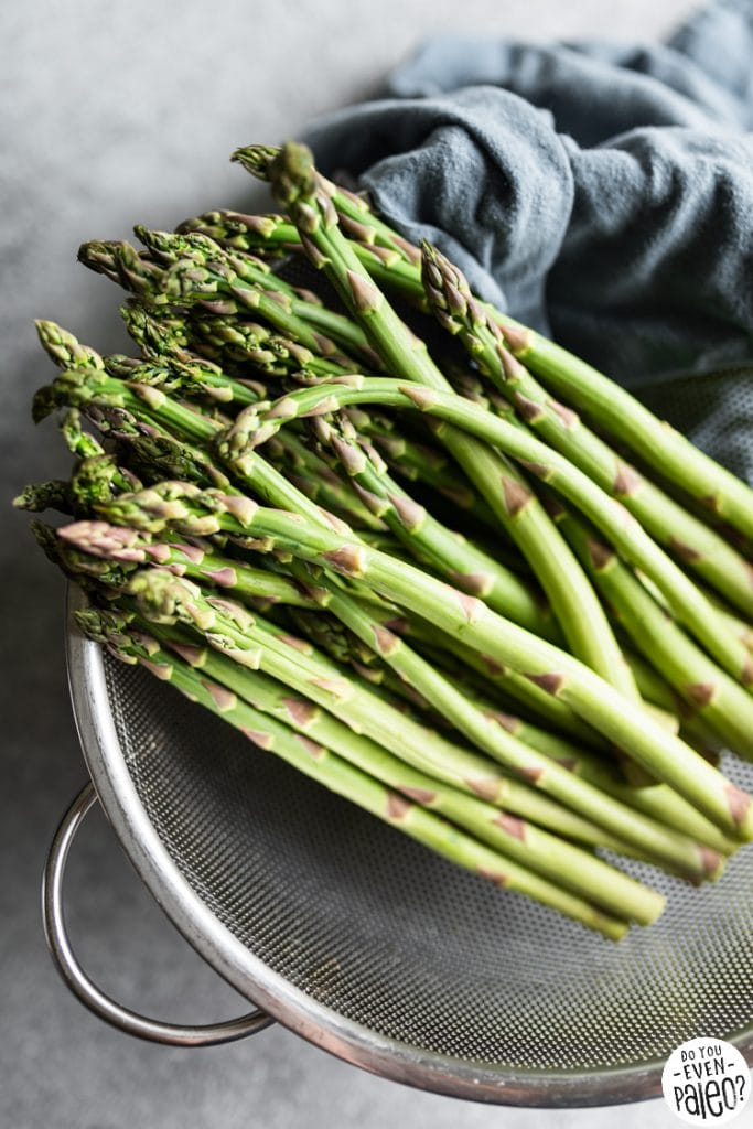 Closeup of asparagus in a colander