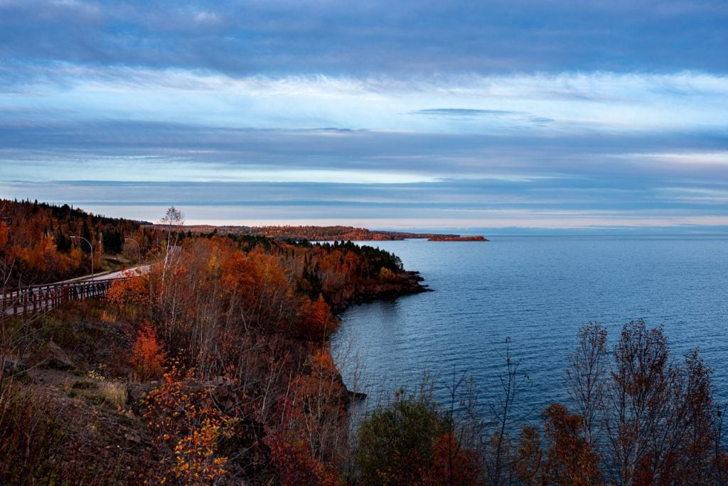 View of Lake Superior and the coastline in fall at twilight