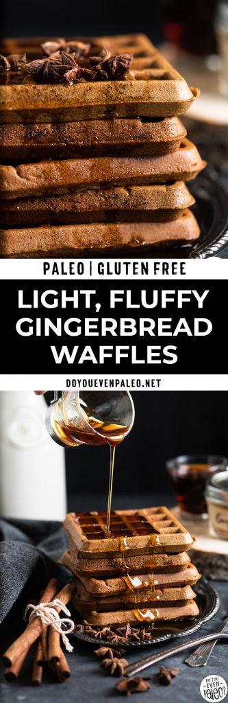 pinterest image for gluten free gingerbread waffles