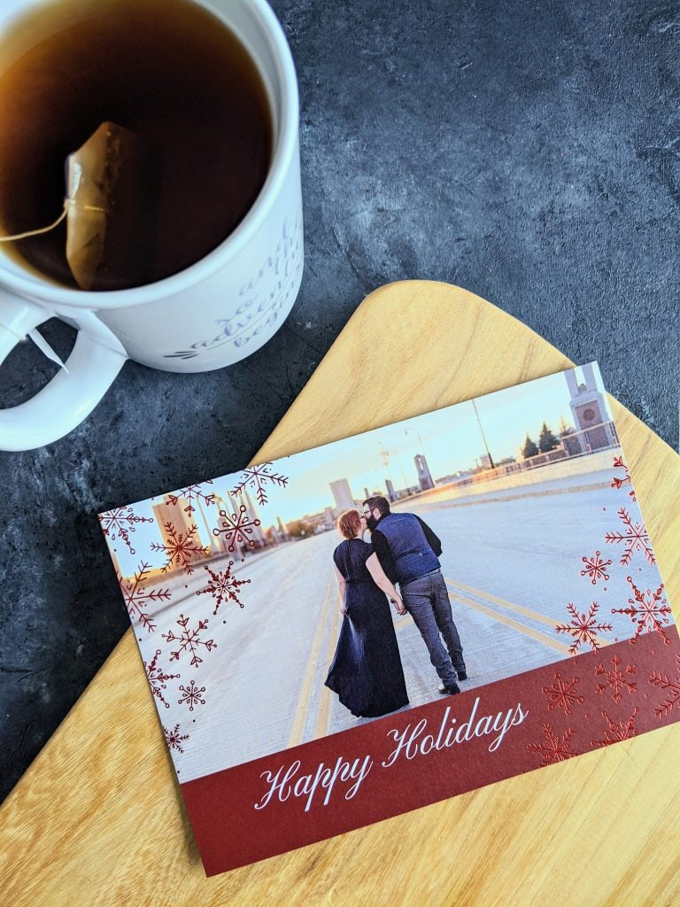 Holiday card and a cup of tea