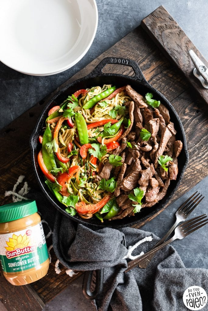 Skillet with Thai Beef Stir Fry with zucchini noodles and SunButter sauce