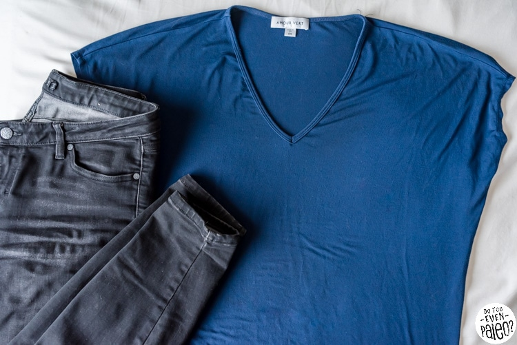 Shirt from Amour Vert and black jeans from prana