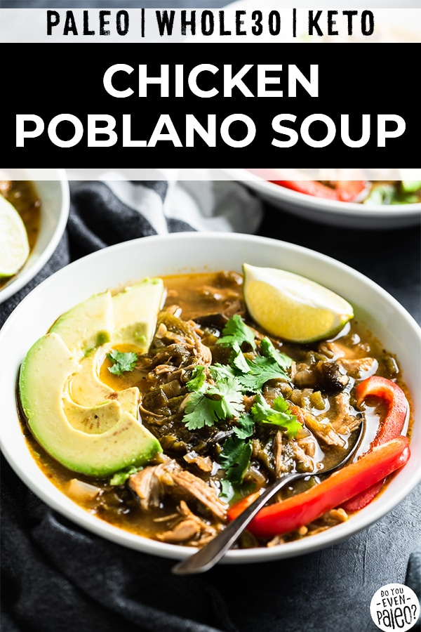 Bowl of whole30 chicken poblano soup garnished with avocado and red pepper