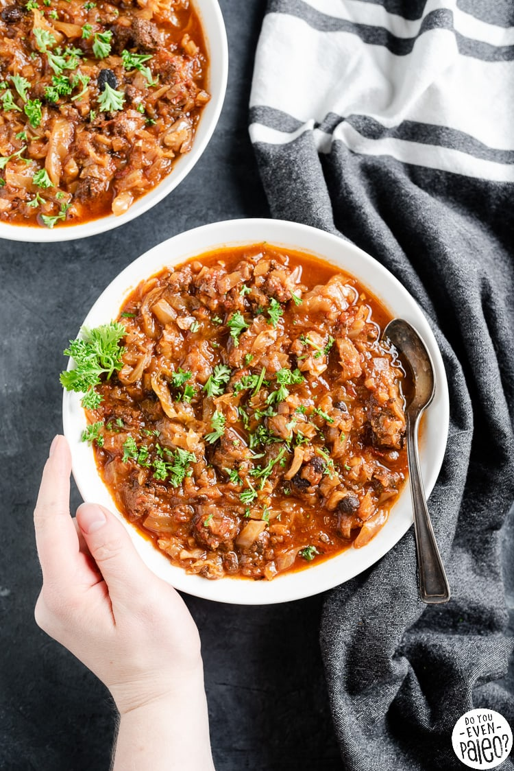 Bowls of hearty cabbage roll soup