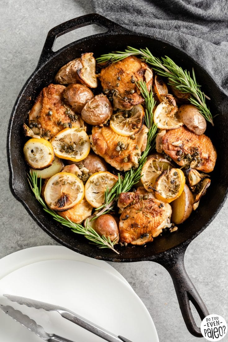 One Skillet Lemon Rosemary Chicken and Potatoes