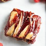 Closeup of a sunflower seed butter and jelly bar