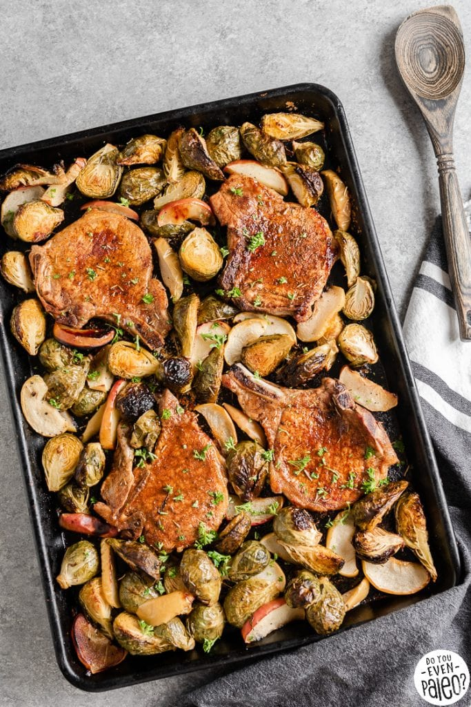 Pork chops with vegetables on a sheet pan