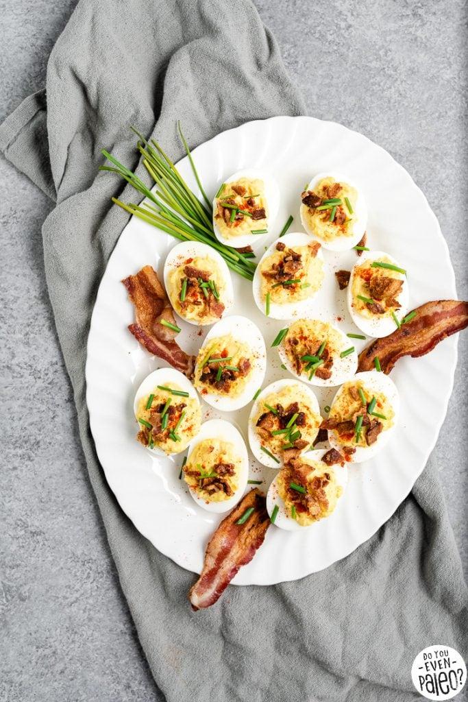 Deviled eggs on a white platter