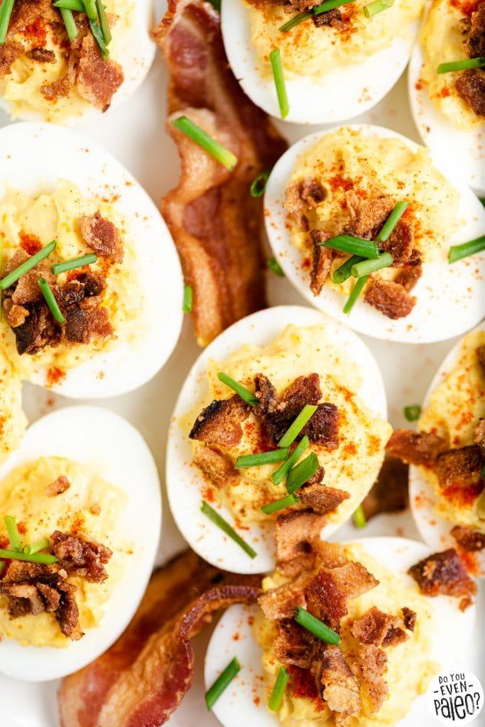 Closeup of chive bacon deviled eggs recipe