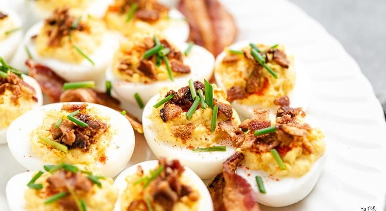 Chive Bacon Deviled Eggs on a platter